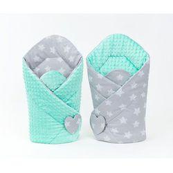 MAMO-TATO Rożek niemowlęcy dwustronny minky Gwiazdy bąbelkowe białe duże / miętowy