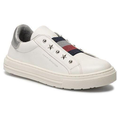 Sneakersy - low cut sneaker t3a4-30435-0709 d white 100 marki Tommy hilfiger