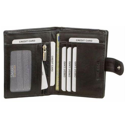 Portfel Męski Skórzany z Zabezpieczniem RFID Pionowy Skóra SM-906PBL (5902730820956)