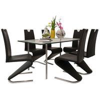 Vidaxl zestaw 6 krzeseł czarnych ze sztucznej skóry z podstawą w kształcie u
