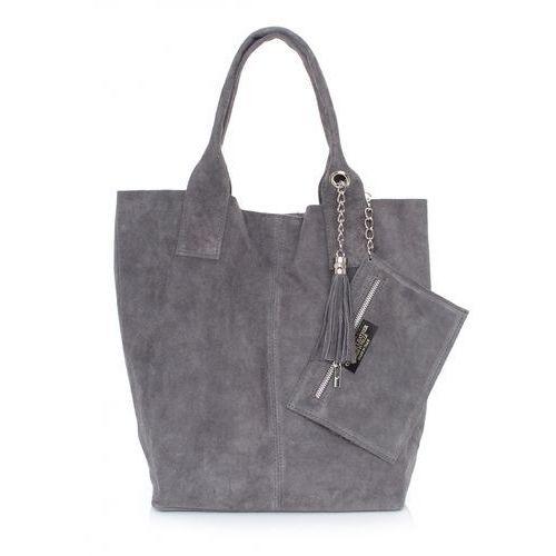 Genuine leather Torebka skórzana shopper bag zamsz naturalny szara (kolory)