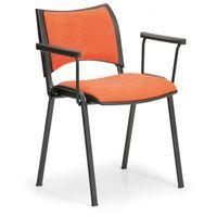 B2b partner Krzesła konferencyjne smart - czarne nogi, z podłokietnikami, pomarańczowy