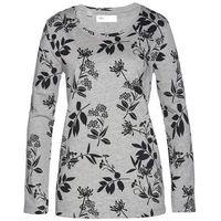 Bluza dresowa bonprix jasnoszary melanż - czarny w kwiaty