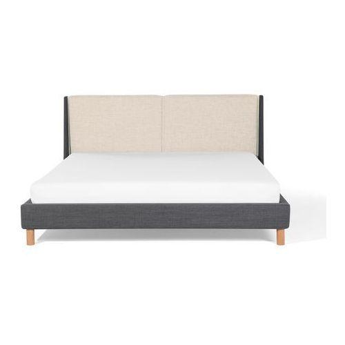 łóżko Szaro Beżowe 180x200 Cm łóżko Tapicerowane Valence Beliani