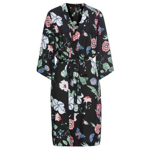 Wdzianko kimono bonprix czarny w kwiaty, w 2 rozmiarach