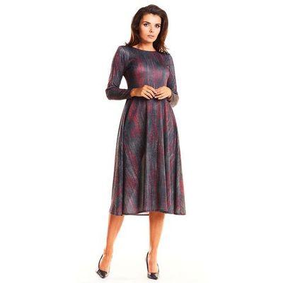 06936d6074 suknie sukienki fuksja elegancka sukienka midi z szerokim dolem z ...