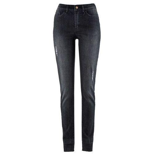 """Dżinsy z brzegami bez obszycia, z kolekcji Maite Kelly bonprix czarny """"stone used"""", jeansy"""