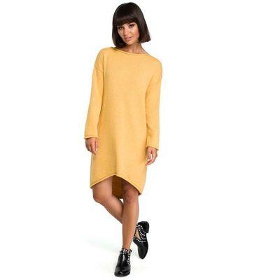 d49a4c1c50 Miodowa asymetryczna swetrowa sukienka z dekoltem w łódkę marki Moe MOLLY