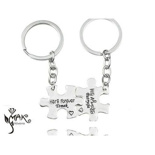 Bk914 brelok do kluczy dla zakochanych puzzle z grawerem marki Mak-biżuteria