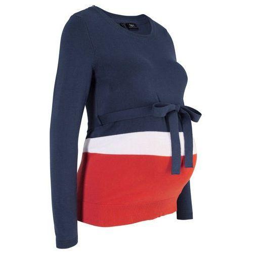 Bonprix Sweter ciążowy, długi rękaw ciemnoniebiesko-biało-czerwony w paski