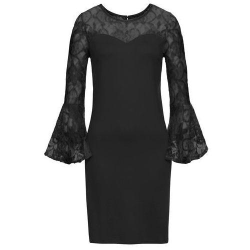 Bonprix Sukienka z dżerseju z rozkloszowanymi rękawami czarny