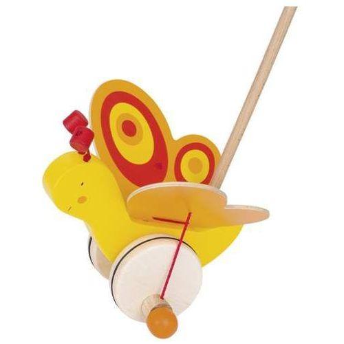 Goki Drewniana zabawka do pchania na kółkch, motylek zuzia