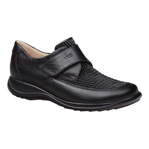 Półbuty comfort 1397 czarne elastico tęgość h na rzepy - czarny marki Axel
