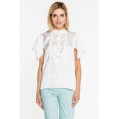 Beżowa bluzka z jedwabiem - Duet Woman, jedwab