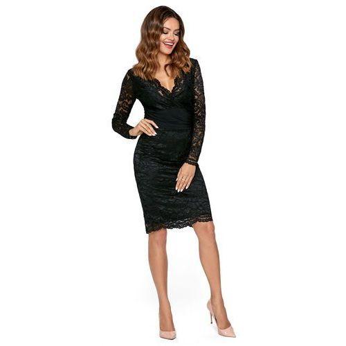 0400967252 Elegancka Czarna Dopasowana Sukienka Koronkowa z Dekoltem V