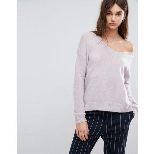 Oba v-neck mohair wool blend jumper - purple Gestuz
