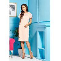 Elegancka sukienka z szyfonowymi rękawami i dekoltem L299 łosoś