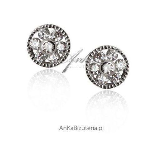 Kolczyki srebrne z cyrkoniami - kwiatek Anka biżuteria