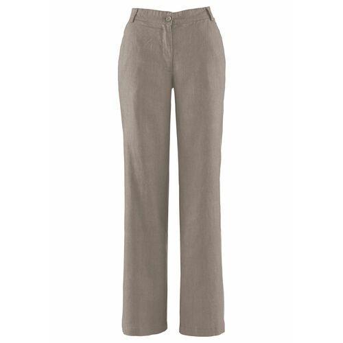 Spodnie lniane Loose Fit z wygodnym paskiem bonprix brunatny, kolor brązowy