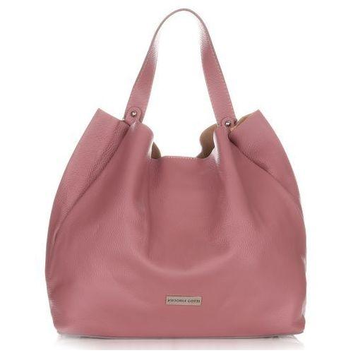 f14afab65c134 Firmowe Torebki Skórzane Shopper XL od Vittori Gotti Brudny Róż (kolory),  kolor różowy
