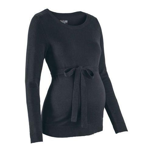 Sweter ciążowy z 100% bawełny, z wiązanym paskiem bonprix czarny