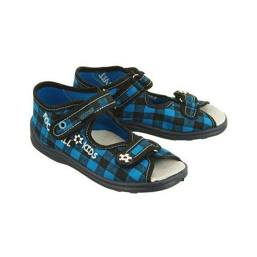 f2de8670 VIGGAMI KARO KRATKA BOY niebieski, kapcie dziecięce z wkładką, rozmiary:  18.5-27 - Granatowy, kolor niebieski