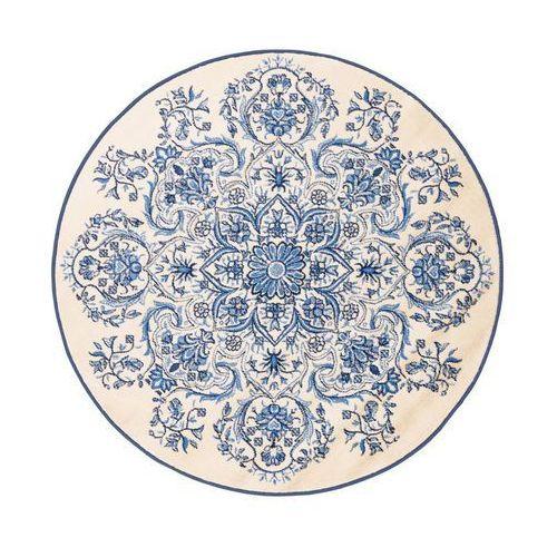 Dywan Okrągły Orname Kremowo Niebieski śr 100 Cm Agnella