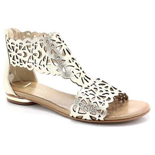 Tymoteo 2699 złote - płaskie sandały ażurowe - złoty