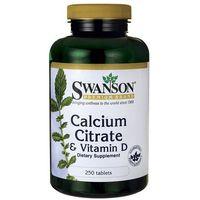 Tabletki Swanson Cytrynian Wapnia Calcium Citrate & Witamina D3 250 tabl.