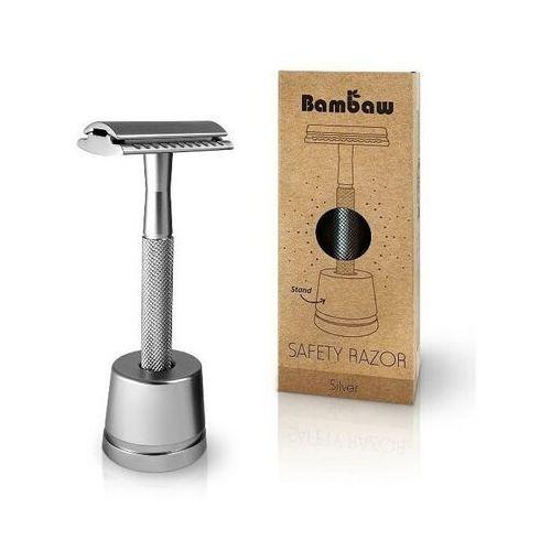 BAMBAW Wielorazowa maszynka do golenia + żyletka i stojak SREBRNA - Super upust
