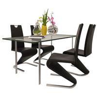 Vidaxl zestaw 4 krzeseł czarnych ze sztucznej skóry z podstawą w kształcie u (8718475902539)