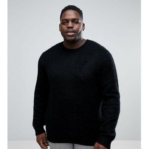 ASOS PLUS Mohair Wool Blend Jumper With Rib In Black - Black