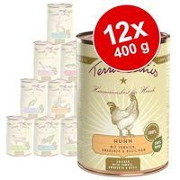 Korzystny pakiet , 12 x 400 g - indyk z naturalnym ryżem i świeżym mniszkiem lekarskim marki Terra canis