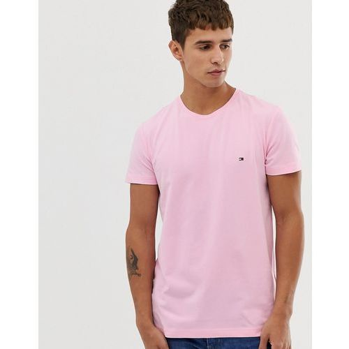 Tommy Hilfiger t-shirt with pique icon flag logo in pastel pink - Pink, kolor różowy
