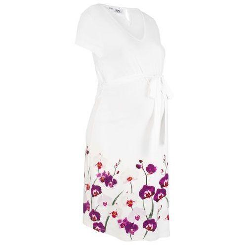 Sukienka ciążowa shirtowa biel wełny z kwiatowym nadrukiem, Bonprix, 32-54