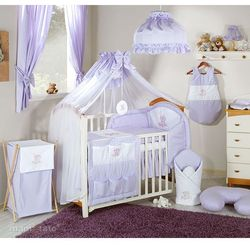 MAMO-TATO pościel 14-el Miś na chmurce w fiolecie do łóżeczka 70x140cm - Moskitiera