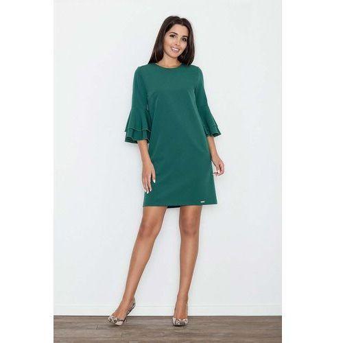 11986a4718 Zielona elegancka sukienka z hiszpańskim rękawem