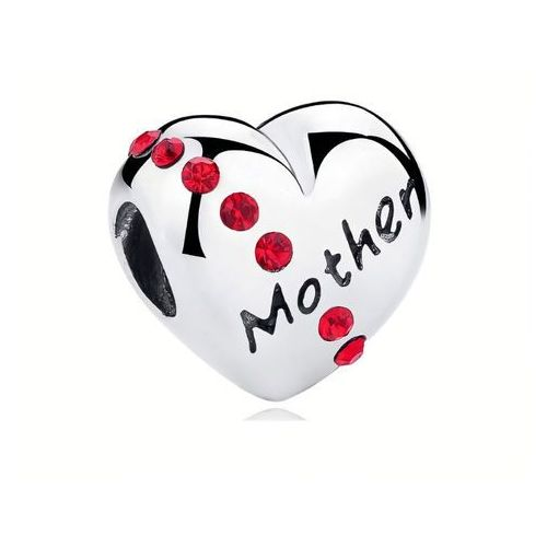 Valerio.pl Rodowany srebrny charms pandora serce heart mama mother cyrkonie srebro 925 bead100