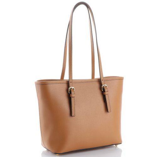 Klasyczne torebki skórzane na każdą okazję firmy długie rączki rude (kolory) marki Genuine leather
