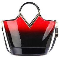 Lakierowana torebka cieniowana czarna z czerwonym - czarny || czerwony