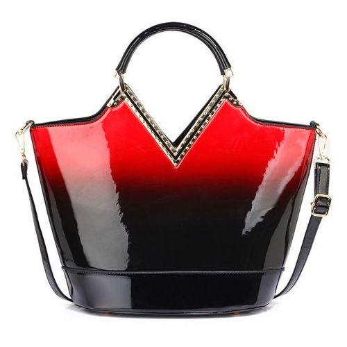 86d43c8e192a8 ▷ Lakierowana torebka cieniowana czarna z czerwonym - czarny ...