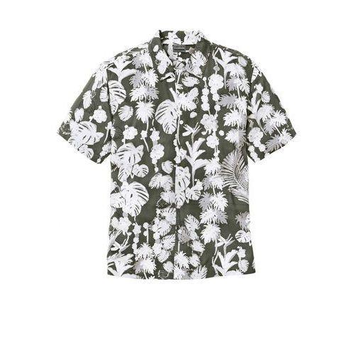 Koszula z krótkim rękawem w hawajski deseń, regular fit ciemnooliwkowy z nadrukiem marki Bonprix