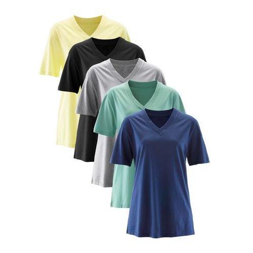 Długi shirt z dekoltem w szpic (5 sztuk), krótki rękaw jasna limonka + zielony szałwiowy + kobaltowy + jasnoszary melanż + czarny marki Bonprix