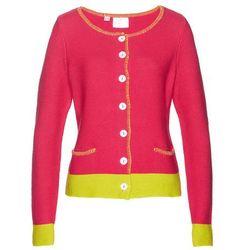 Bonprix Sweter rozpinany w ludowym stylu premium różowy hibiskus
