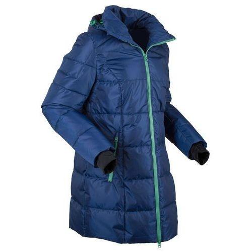 Ciepła długa kurtka pikowana funkcyjna kobaltowo zielony szałwiowy, 1 rozmiar (bonprix)