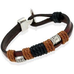 BRANSOLETKA MĘSKA sznurek SKÓRA brown, kolor brązowy