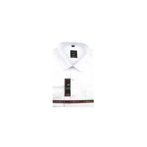 Laviino Koszula męska gładka biała na długi rękaw d917