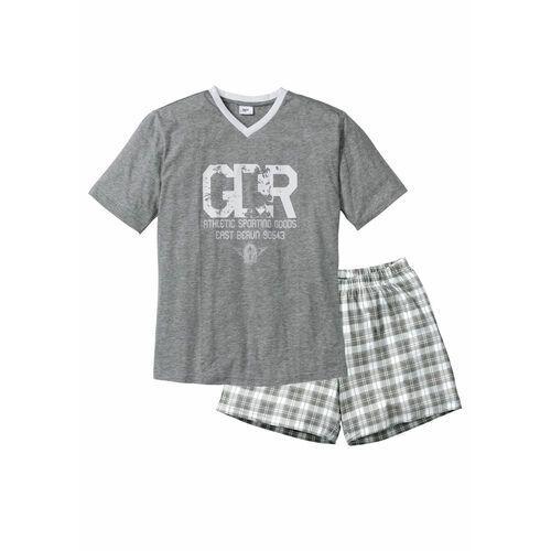 Piżama z krótkimi spodenkami bonprix szary melanż-biały, kolor szary