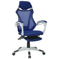 vidaXL Krzesło biurowe z odchylanym oparciem i podnóżkiem, biało-niebieskie