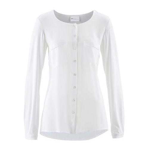 Bluzka Premium z jedwabną wstawką bonprix biel wełny, w 8 rozmiarach